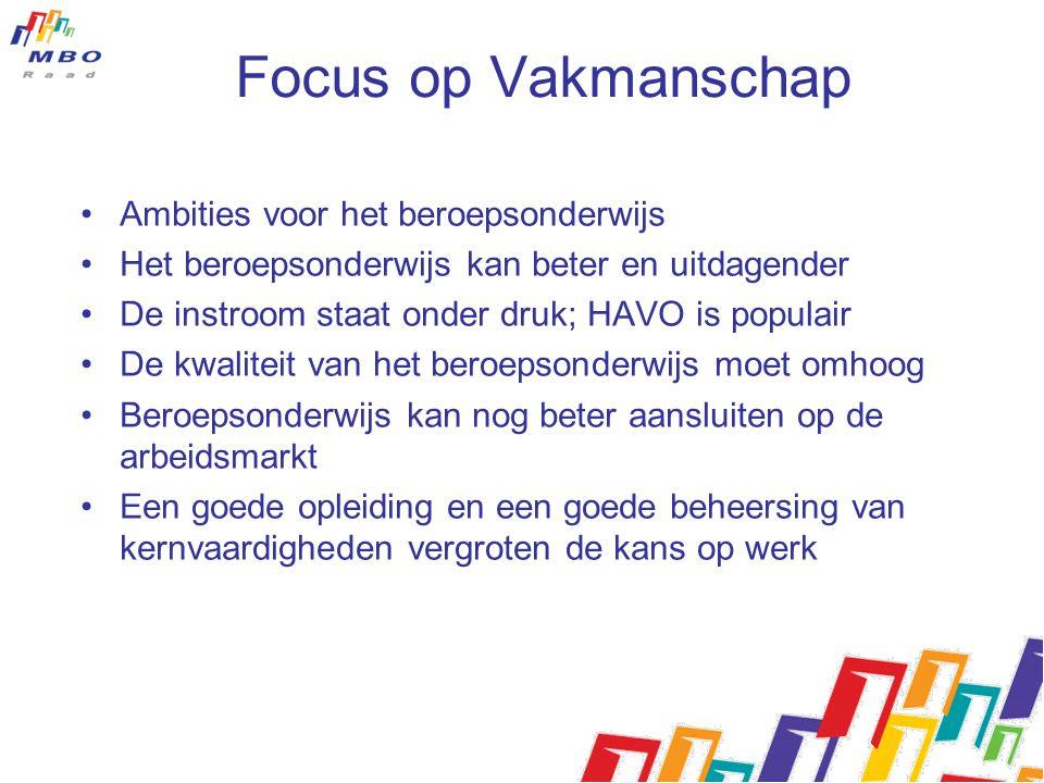 Focus op Vakmanschap Ambities voor het beroepsonderwijs Het beroepsonderwijs kan beter en uitdagender De instroom staat onder druk; HAVO is populair D