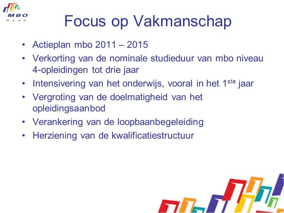 Focus op Vakmanschap Actieplan mbo 2011 – 2015 Verkorting van de nominale studieduur van mbo niveau 4-opleidingen tot drie jaar Intensivering van het