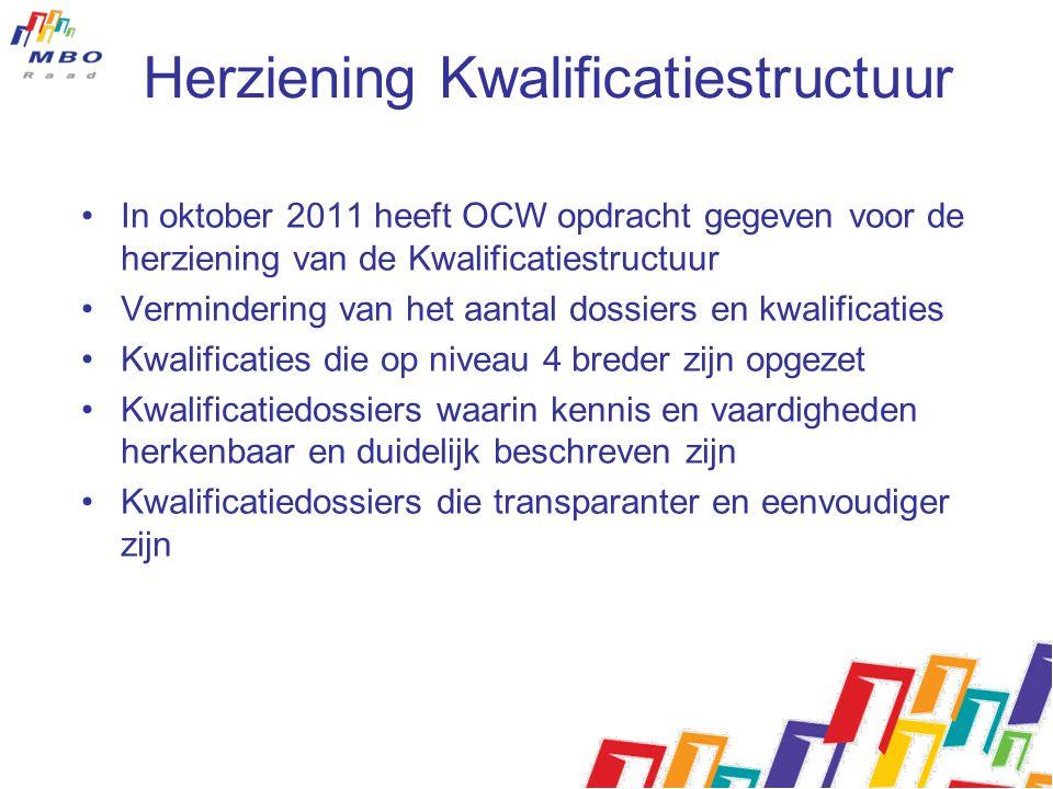 Herziening Kwalificatiestructuur In oktober 2011 heeft OCW opdracht gegeven voor de herziening van de Kwalificatiestructuur Vermindering van het aanta