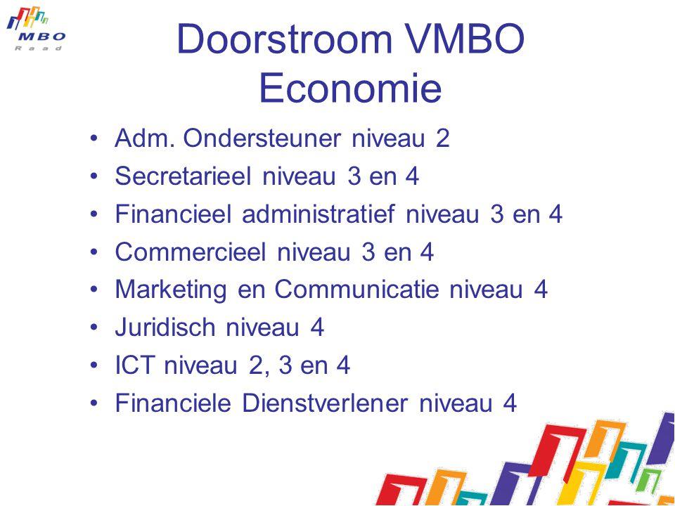Doorstroom VMBO Economie Adm. Ondersteuner niveau 2 Secretarieel niveau 3 en 4 Financieel administratief niveau 3 en 4 Commercieel niveau 3 en 4 Marke