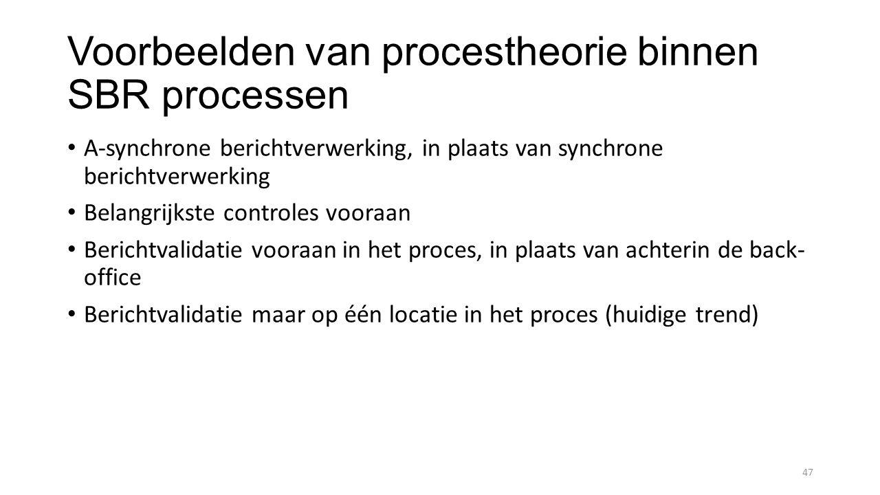 Voorbeelden van procestheorie binnen SBR processen A-synchrone berichtverwerking, in plaats van synchrone berichtverwerking Belangrijkste controles vooraan Berichtvalidatie vooraan in het proces, in plaats van achterin de back- office Berichtvalidatie maar op één locatie in het proces (huidige trend) 47