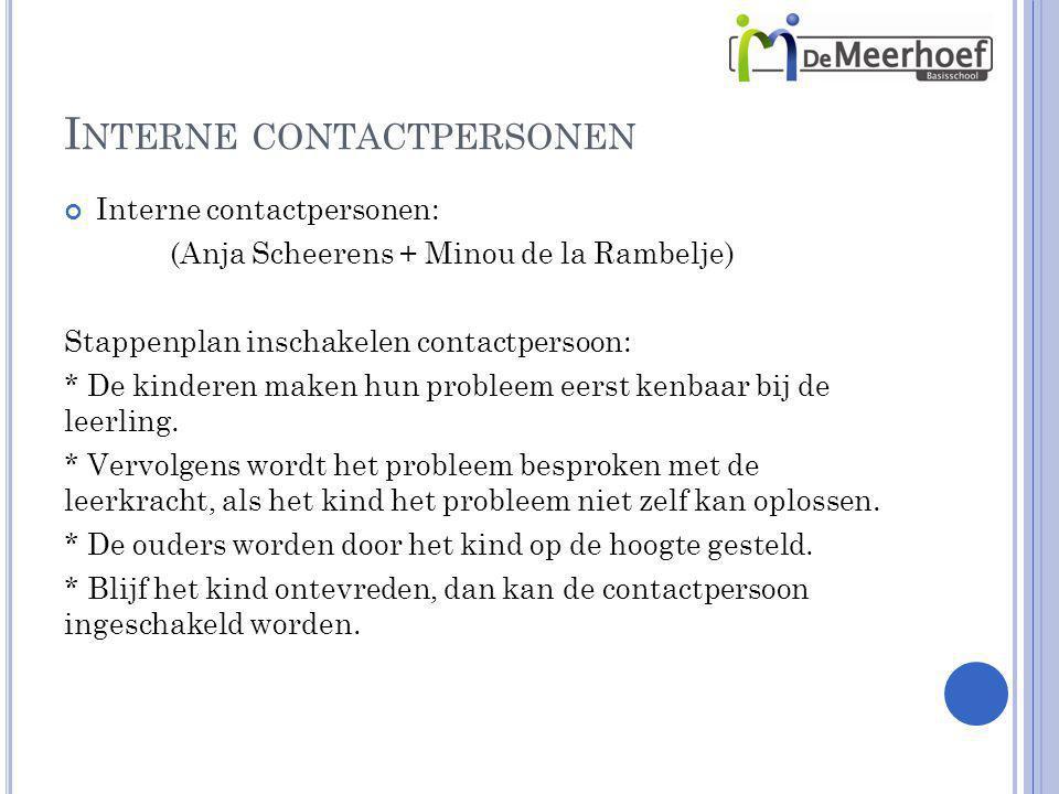 I NTERNE CONTACTPERSONEN Interne contactpersonen: (Anja Scheerens + Minou de la Rambelje) Stappenplan inschakelen contactpersoon: * De kinderen maken