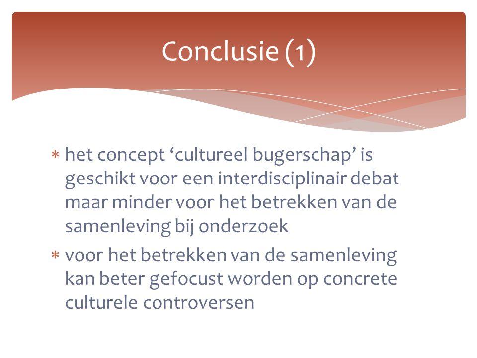  het concept 'cultureel bugerschap' is geschikt voor een interdisciplinair debat maar minder voor het betrekken van de samenleving bij onderzoek  vo