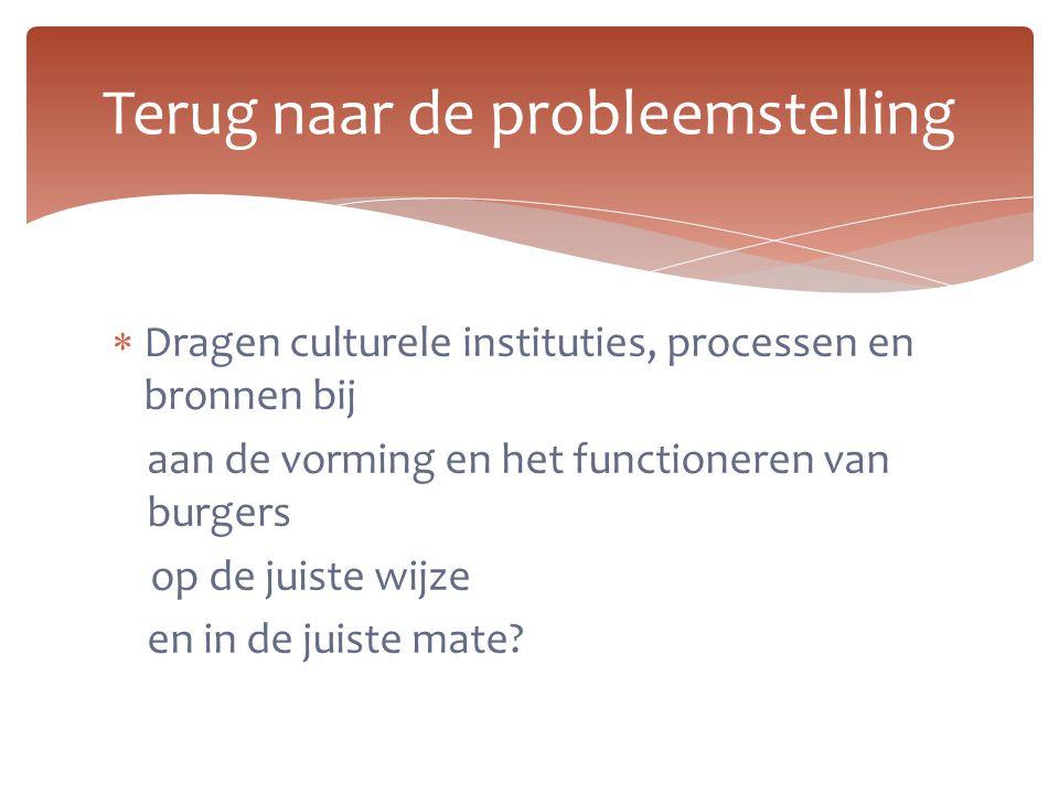  Dragen culturele instituties, processen en bronnen bij aan de vorming en het functioneren van burgers op de juiste wijze en in de juiste mate? Terug