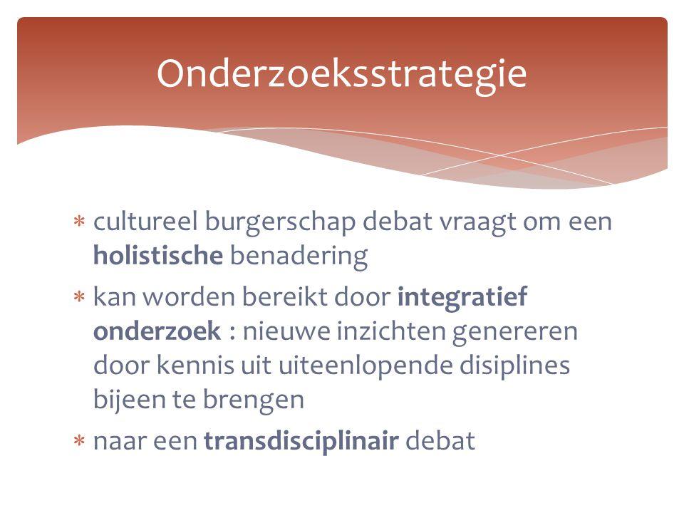  cultureel burgerschap debat vraagt om een holistische benadering  kan worden bereikt door integratief onderzoek : nieuwe inzichten genereren door k