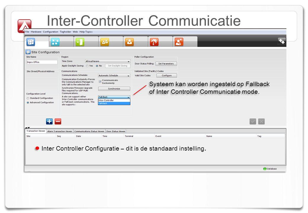Inter-Controller Communicatie Inter Controller Configuratie – dit is de standaard instelling.