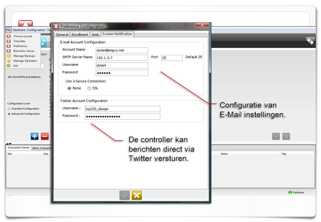 Notifications Configuratie van E-Mail instellingen.