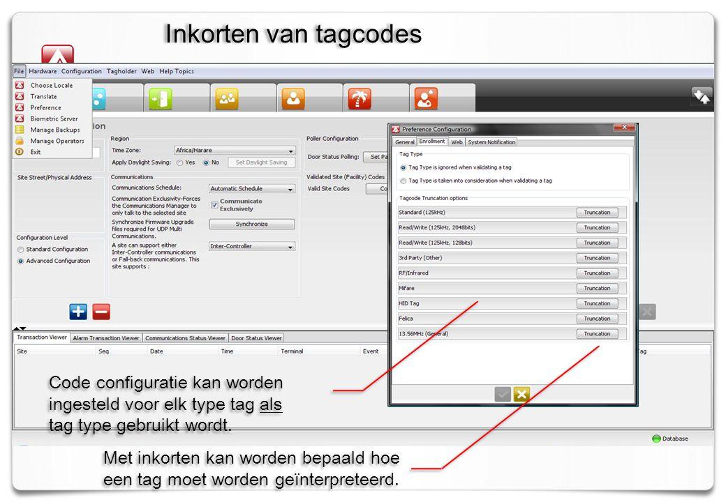 Code configuratie kan worden ingesteld voor elk type tag als tag type gebruikt wordt.