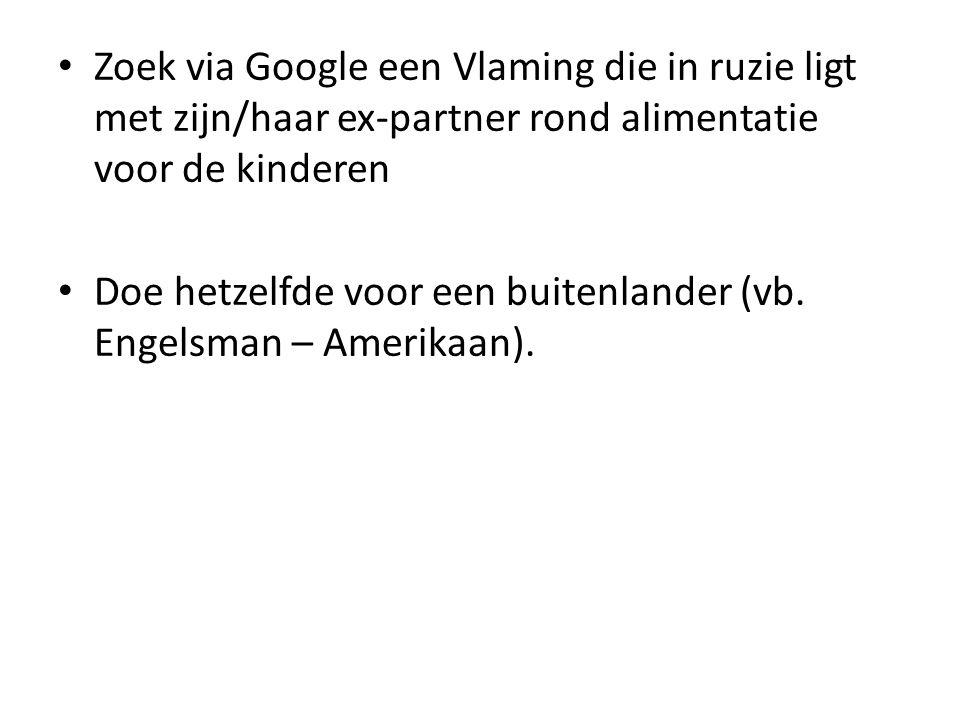 Zoek via Google een Vlaming die in ruzie ligt met zijn/haar ex-partner rond alimentatie voor de kinderen Doe hetzelfde voor een buitenlander (vb.