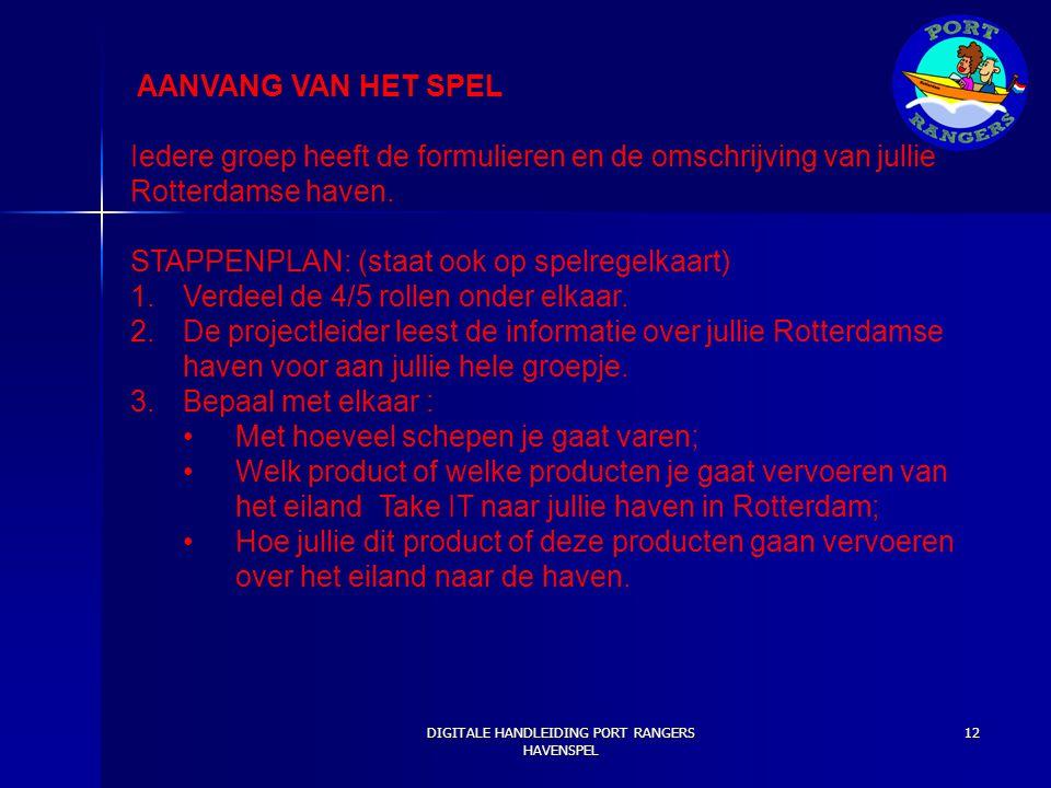 AANVANG VAN HET SPEL Iedere groep heeft de formulieren en de omschrijving van jullie Rotterdamse haven. STAPPENPLAN: (staat ook op spelregelkaart) 1.V