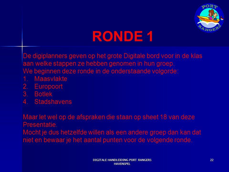 RONDE 1 De digiplanners geven op het grote Digitale bord voor in de klas aan welke stappen ze hebben genomen in hun groep. We beginnen deze ronde in d