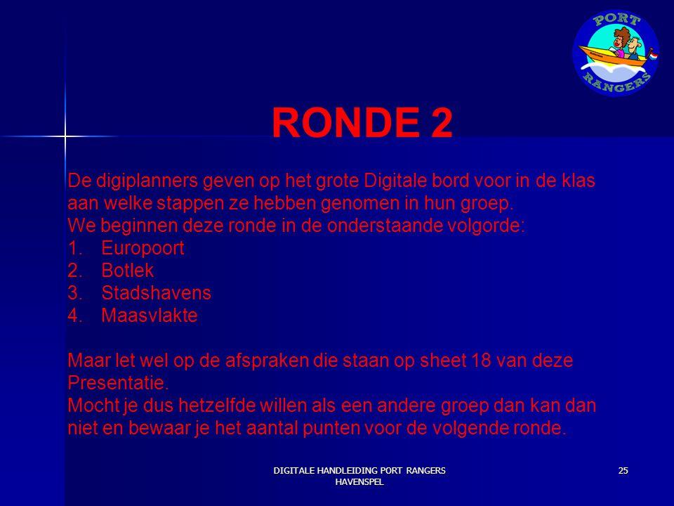 RONDE 2 De digiplanners geven op het grote Digitale bord voor in de klas aan welke stappen ze hebben genomen in hun groep. We beginnen deze ronde in d
