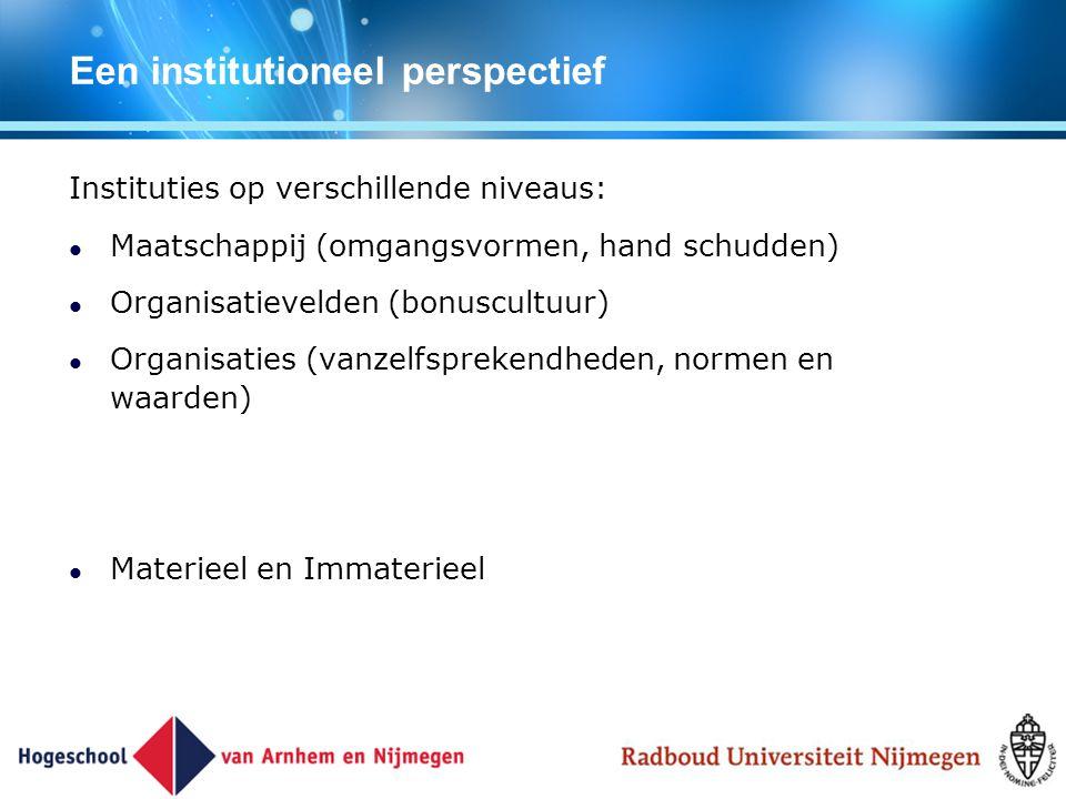 Een institutioneel perspectief Instituties op verschillende niveaus: Maatschappij (omgangsvormen, hand schudden) Organisatievelden (bonuscultuur) Orga