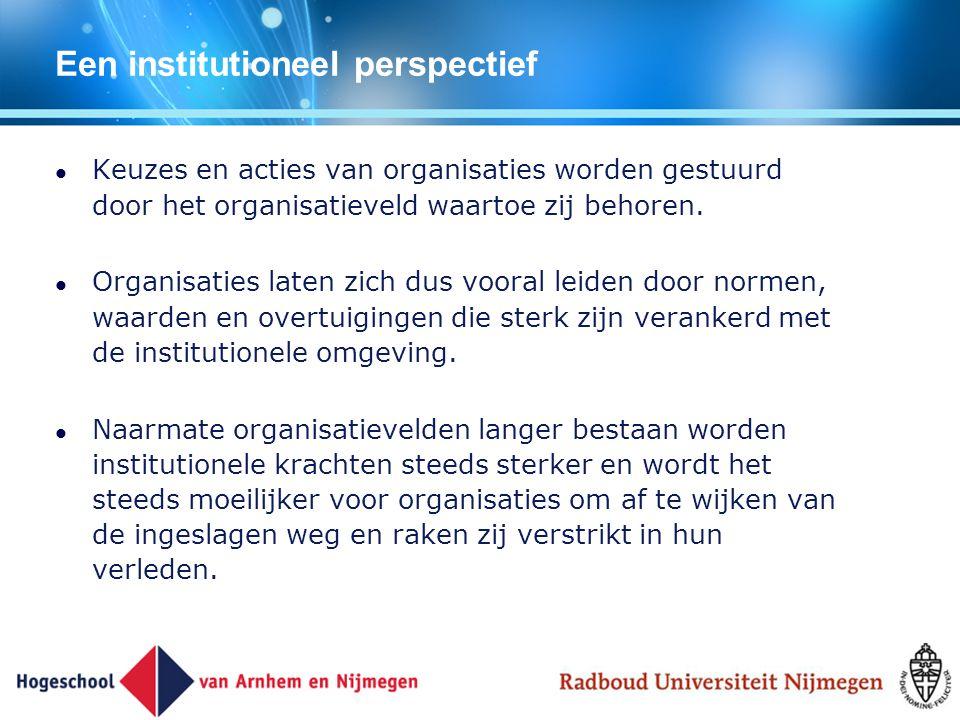 Een institutioneel perspectief Keuzes en acties van organisaties worden gestuurd door het organisatieveld waartoe zij behoren. Organisaties laten zich