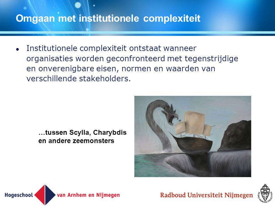 Omgaan met institutionele complexiteit Institutionele complexiteit ontstaat wanneer organisaties worden geconfronteerd met tegenstrijdige en onverenig