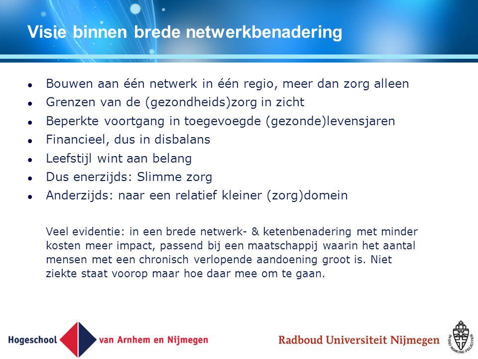 Visie binnen brede netwerkbenadering Bouwen aan één netwerk in één regio, meer dan zorg alleen Grenzen van de (gezondheids)zorg in zicht Beperkte voor