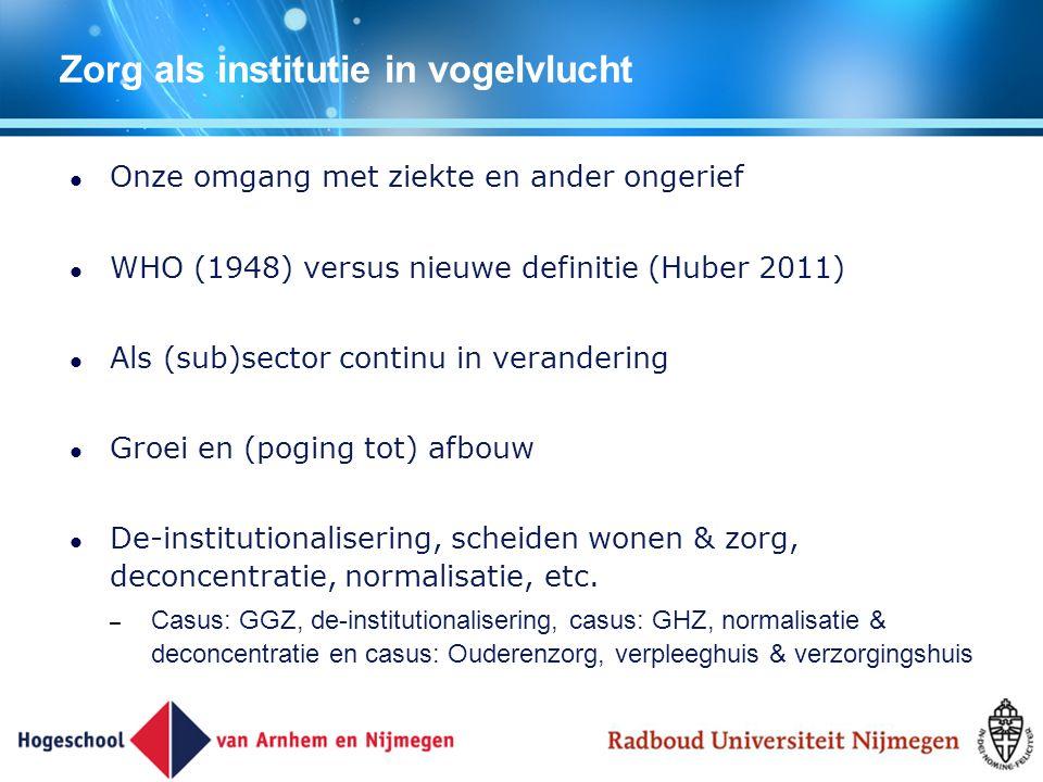 Zorg als institutie in vogelvlucht Onze omgang met ziekte en ander ongerief WHO (1948) versus nieuwe definitie (Huber 2011) Als (sub)sector continu in