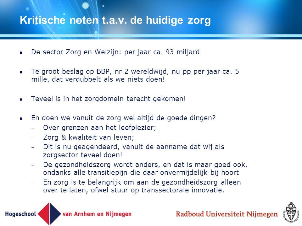 Kritische noten t.a.v. de huidige zorg De sector Zorg en Welzijn: per jaar ca. 93 miljard Te groot beslag op BBP, nr 2 wereldwijd, nu pp per jaar ca.