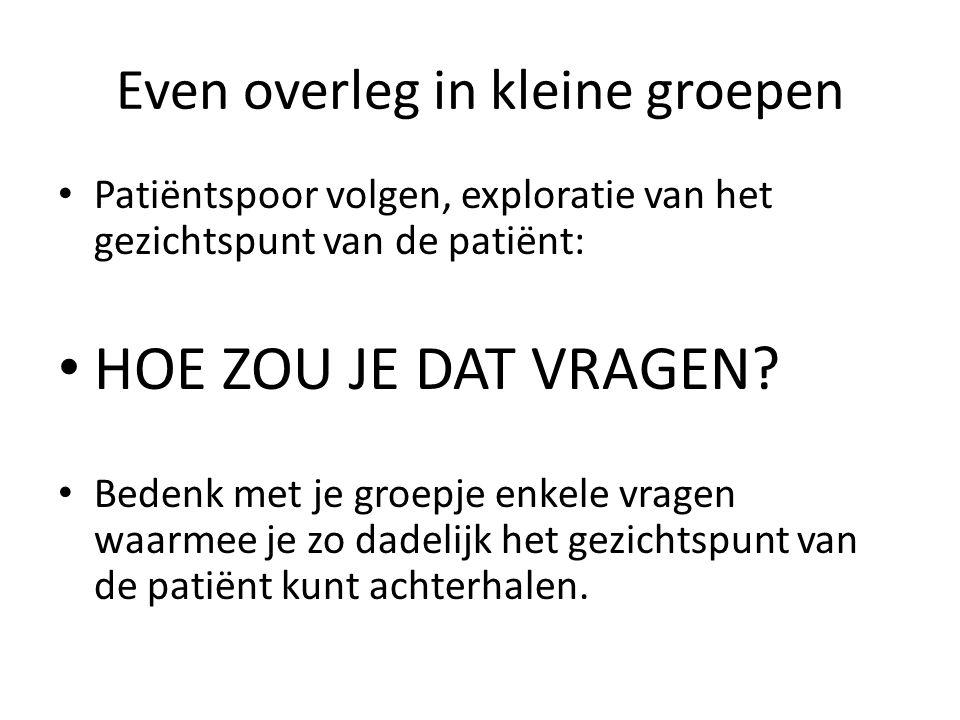 Even overleg in kleine groepen Patiëntspoor volgen, exploratie van het gezichtspunt van de patiënt: HOE ZOU JE DAT VRAGEN.