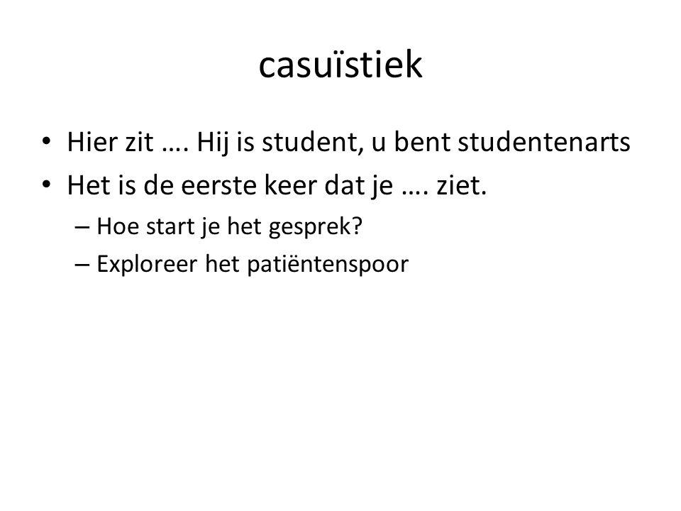 casuïstiek Hier zit …. Hij is student, u bent studentenarts Het is de eerste keer dat je ….