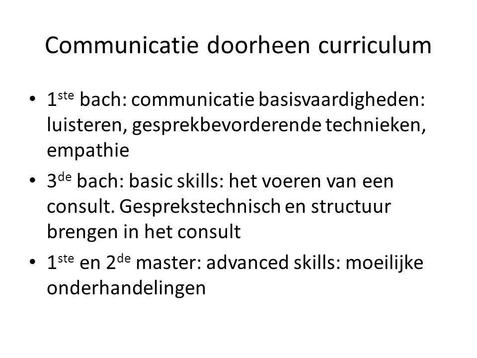 Communicatie doorheen curriculum 1 ste bach: communicatie basisvaardigheden: luisteren, gesprekbevorderende technieken, empathie 3 de bach: basic skills: het voeren van een consult.