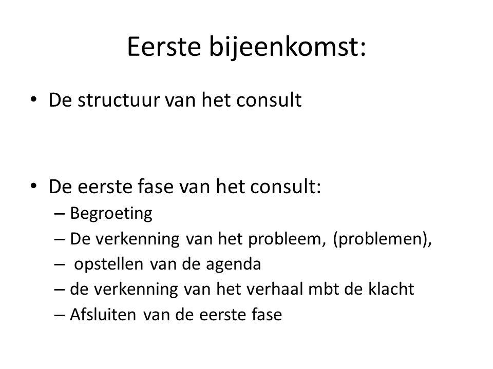 Eerste bijeenkomst: De structuur van het consult De eerste fase van het consult: – Begroeting – De verkenning van het probleem, (problemen), – opstellen van de agenda – de verkenning van het verhaal mbt de klacht – Afsluiten van de eerste fase