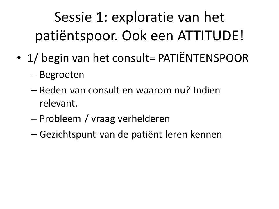 Sessie 1: exploratie van het patiëntspoor. Ook een ATTITUDE.