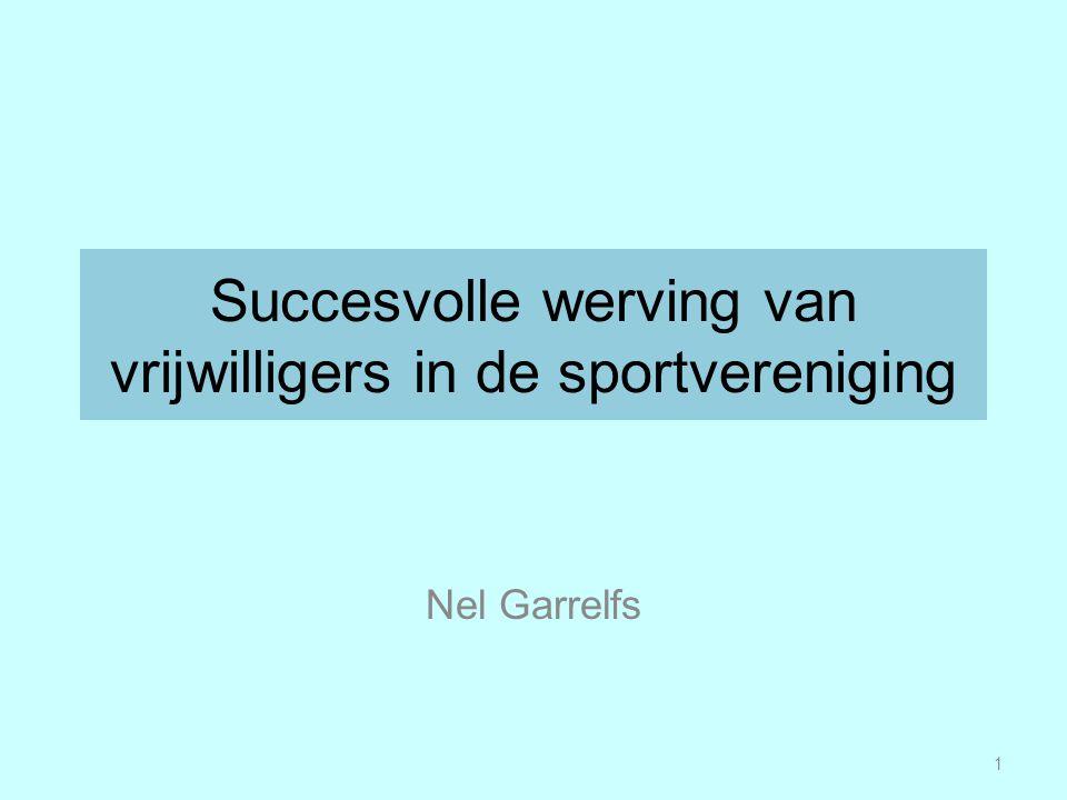 Succesvolle werving van vrijwilligers in de sportvereniging Nel Garrelfs 1