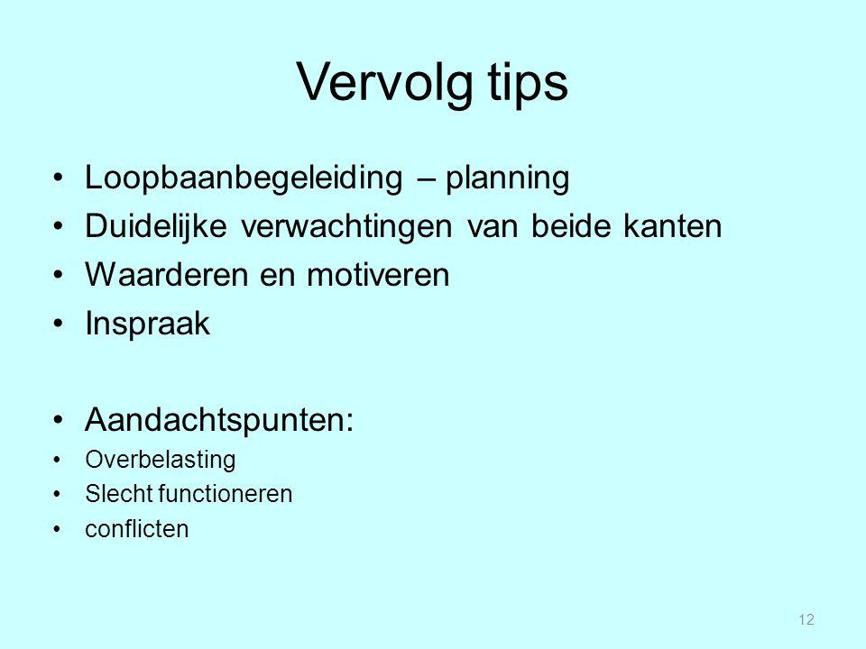 Vervolg tips Loopbaanbegeleiding – planning Duidelijke verwachtingen van beide kanten Waarderen en motiveren Inspraak Aandachtspunten: Overbelasting S