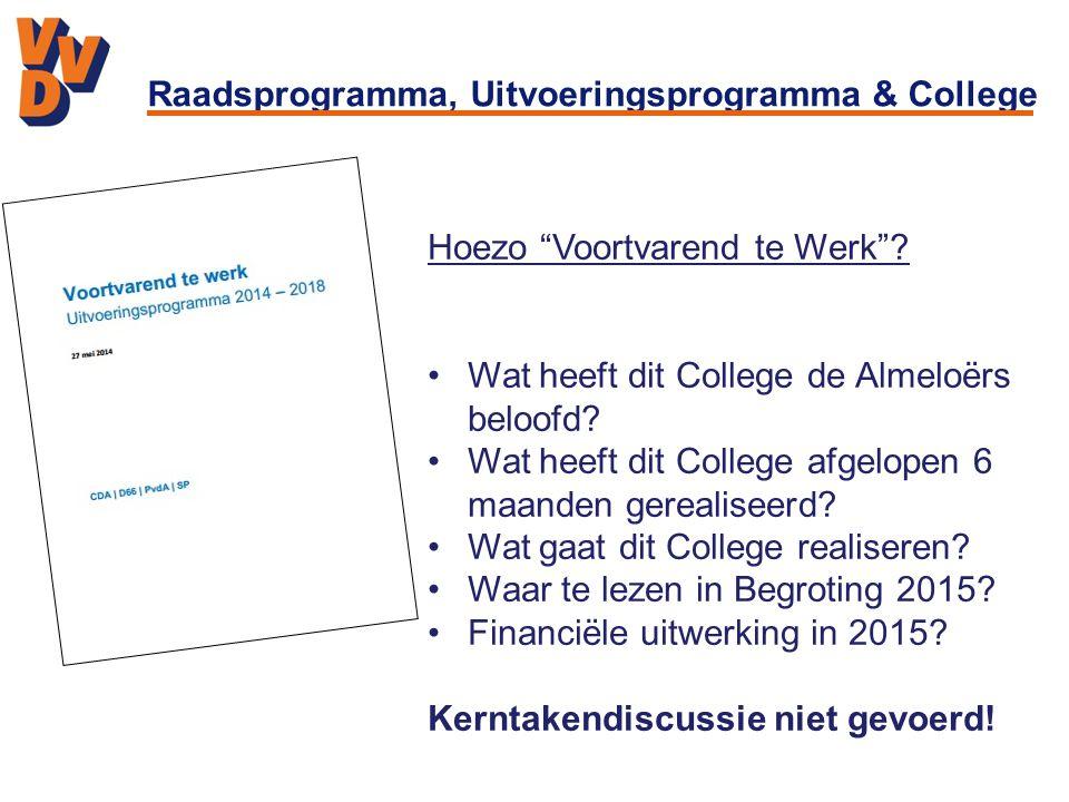 Raadsprogramma, Uitvoeringsprogramma & College Hoezo Voortvarend te Werk .