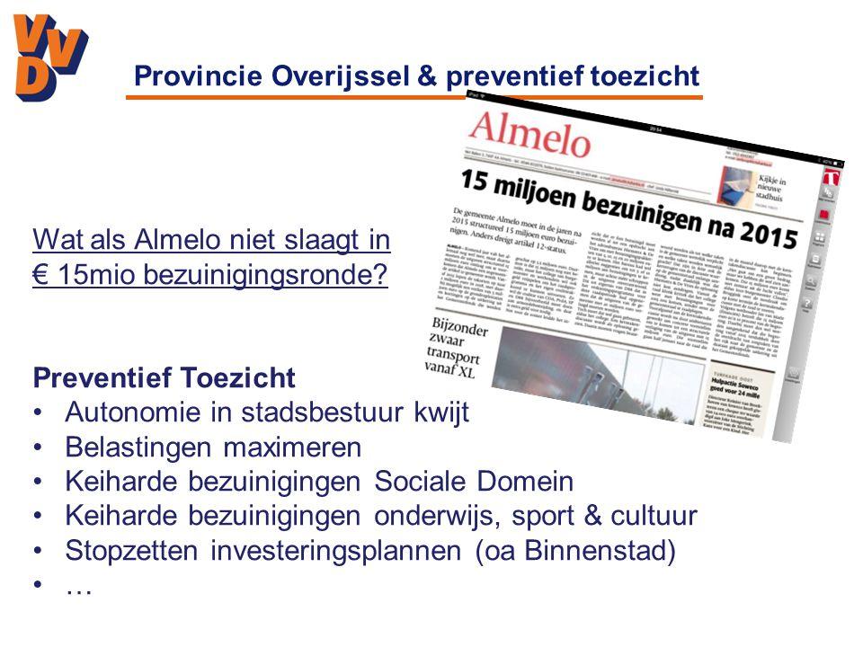Provincie Overijssel & preventief toezicht Wat als Almelo niet slaagt in € 15mio bezuinigingsronde.