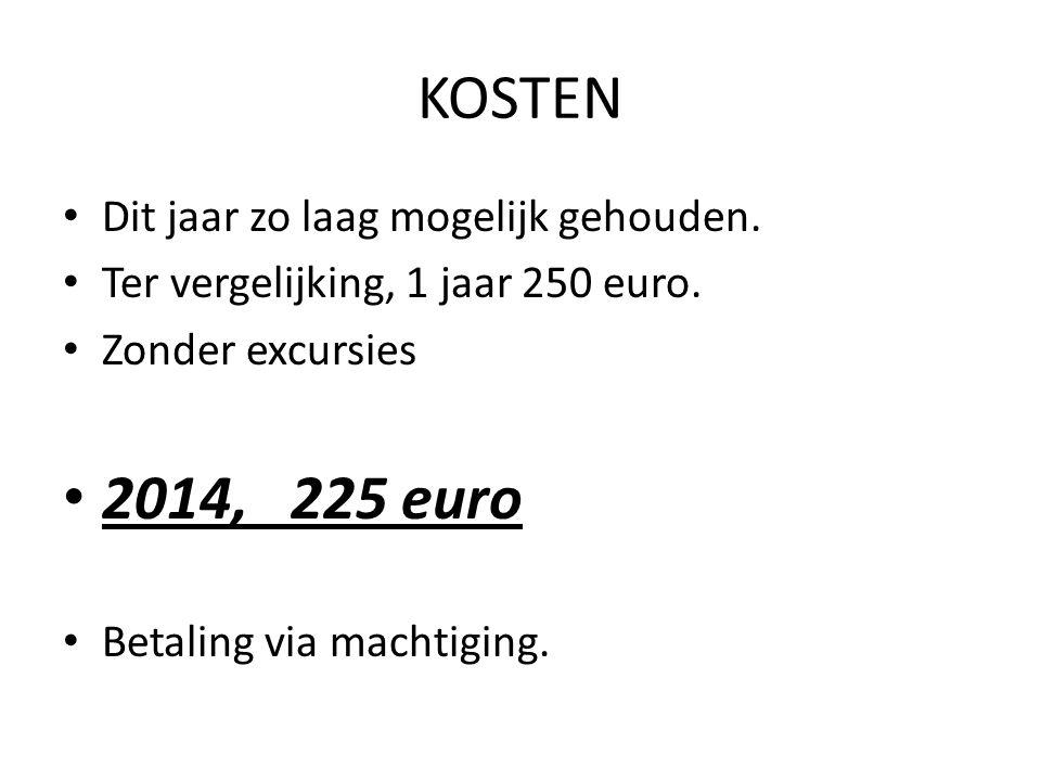KOSTEN Dit jaar zo laag mogelijk gehouden. Ter vergelijking, 1 jaar 250 euro.
