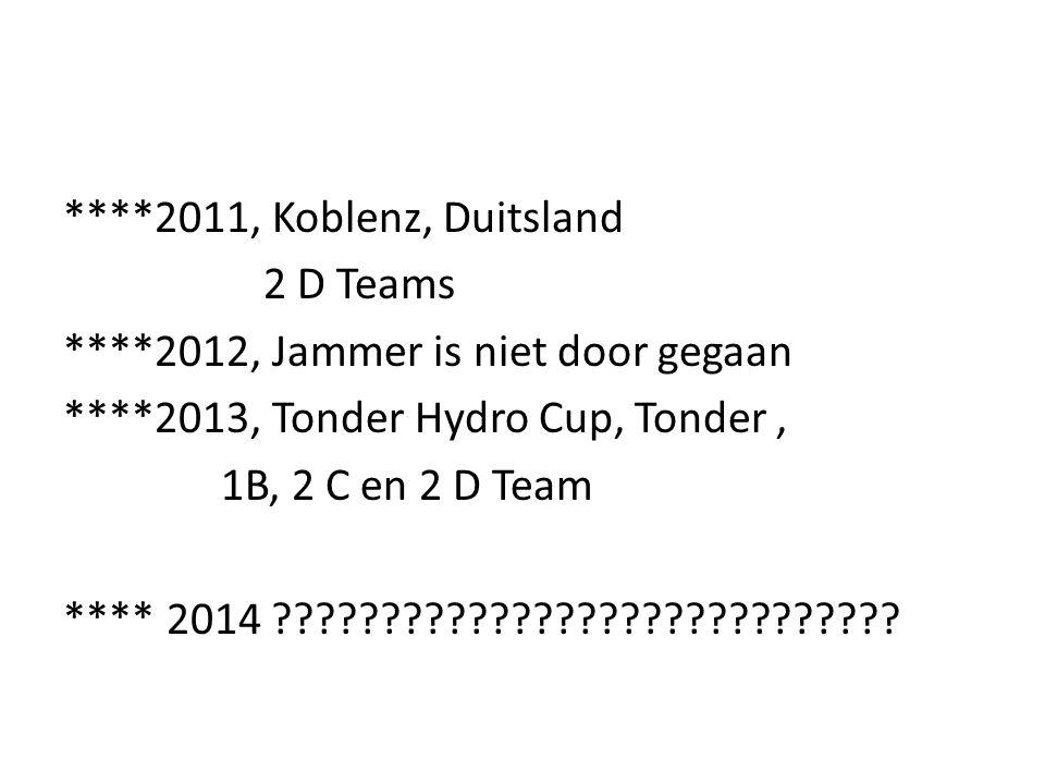 ****2011, Koblenz, Duitsland 2 D Teams ****2012, Jammer is niet door gegaan ****2013, Tonder Hydro Cup, Tonder, 1B, 2 C en 2 D Team **** 2014