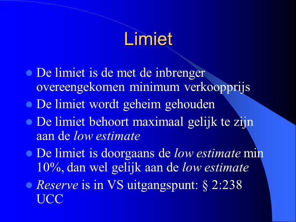 Limiet De limiet is de met de inbrenger overeengekomen minimum verkoopprijs De limiet wordt geheim gehouden De limiet behoort maximaal gelijk te zijn