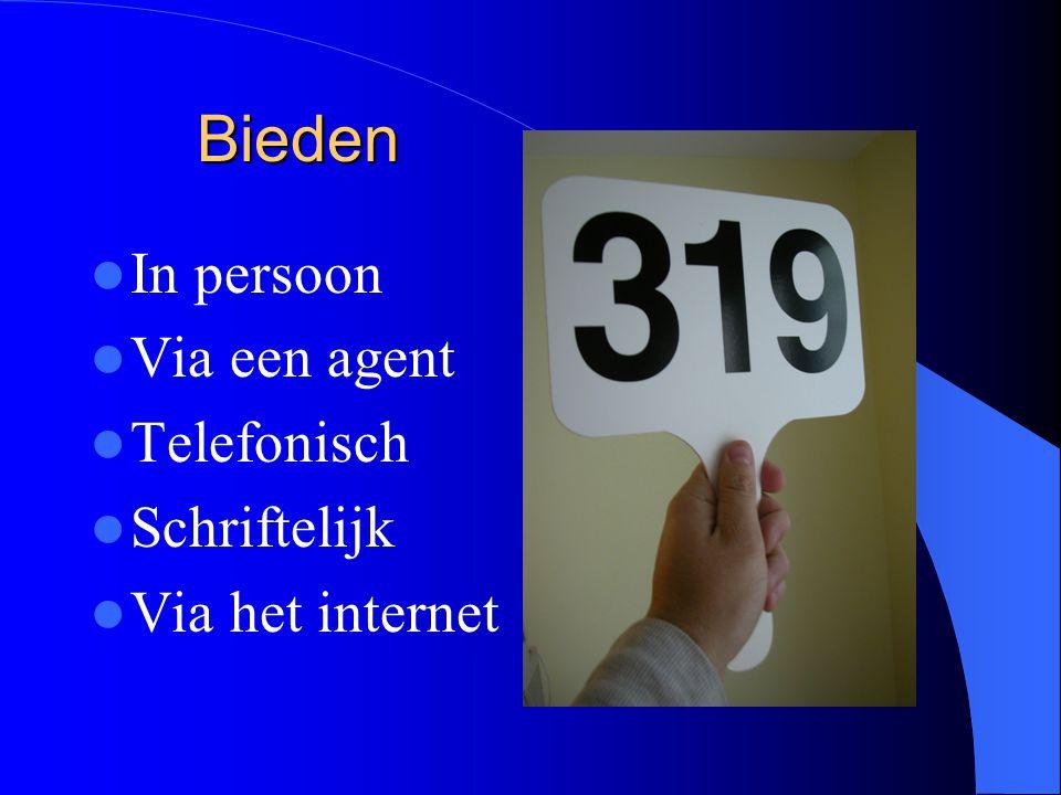 Bieden In persoon Via een agent Telefonisch Schriftelijk Via het internet