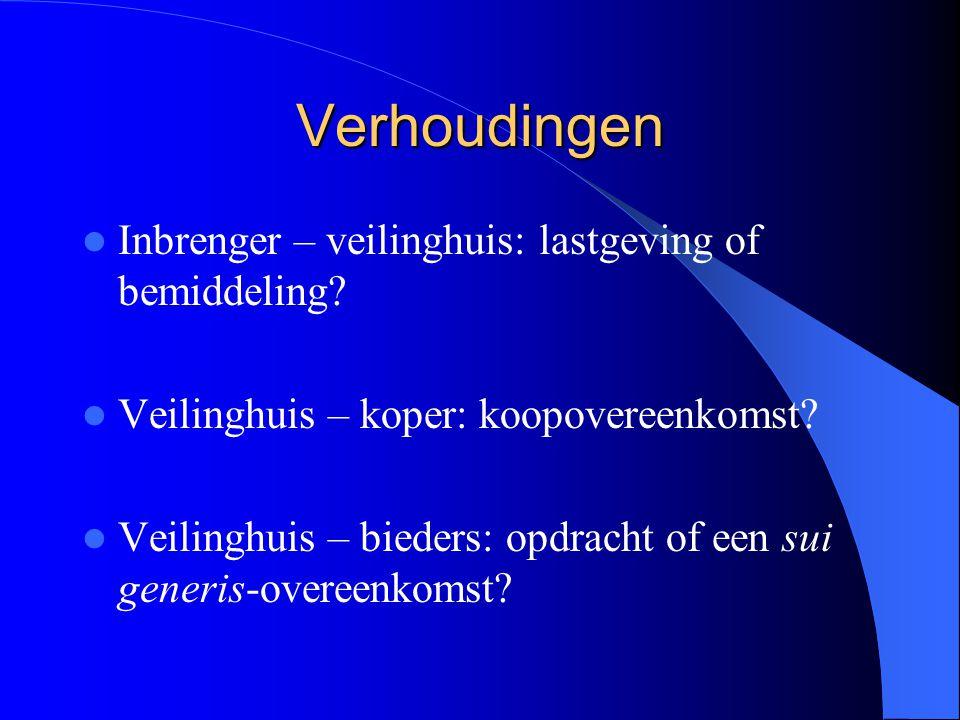 Verhoudingen Inbrenger – veilinghuis: lastgeving of bemiddeling.