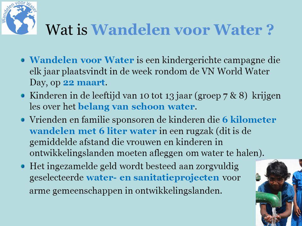 Wandelen voor Water is een kindergerichte campagne die elk jaar plaatsvindt in de week rondom de VN World Water Day, op 22 maart.