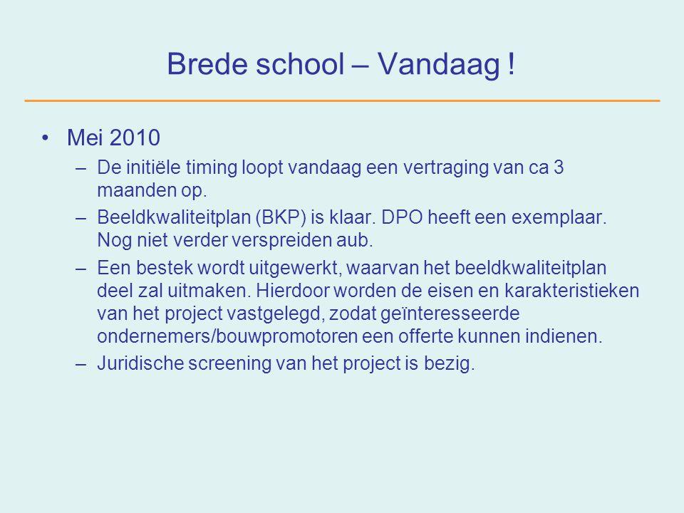 Brede school – Morgen .–Publicatie in aanbestedingsfora in de loop van de zomer.