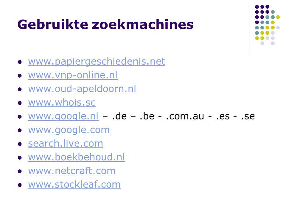 Gebruikte zoekmachines www.papiergeschiedenis.net www.vnp-online.nl www.oud-apeldoorn.nl www.whois.sc www.google.nl –.de –.be -.com.au -.es -.se www.google.nl www.google.com search.live.com www.boekbehoud.nl www.netcraft.com www.stockleaf.com