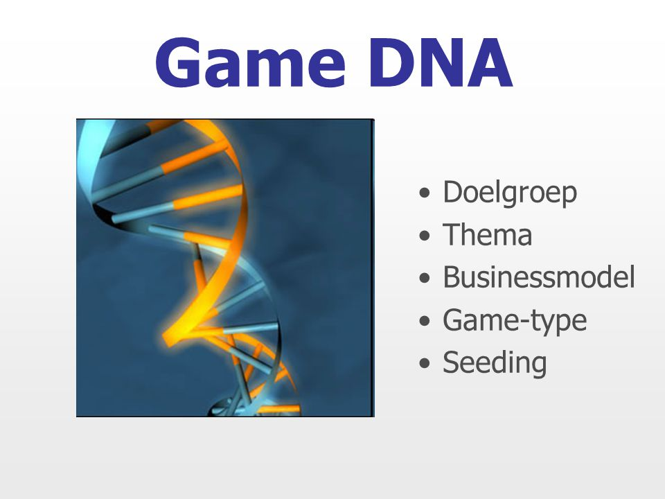 Game DNA Doelgroep Thema Businessmodel Game-type Seeding