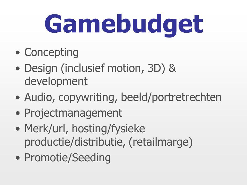 Concepting Design (inclusief motion, 3D) & development Audio, copywriting, beeld/portretrechten Projectmanagement Merk/url, hosting/fysieke productie/distributie, (retailmarge) Promotie/Seeding