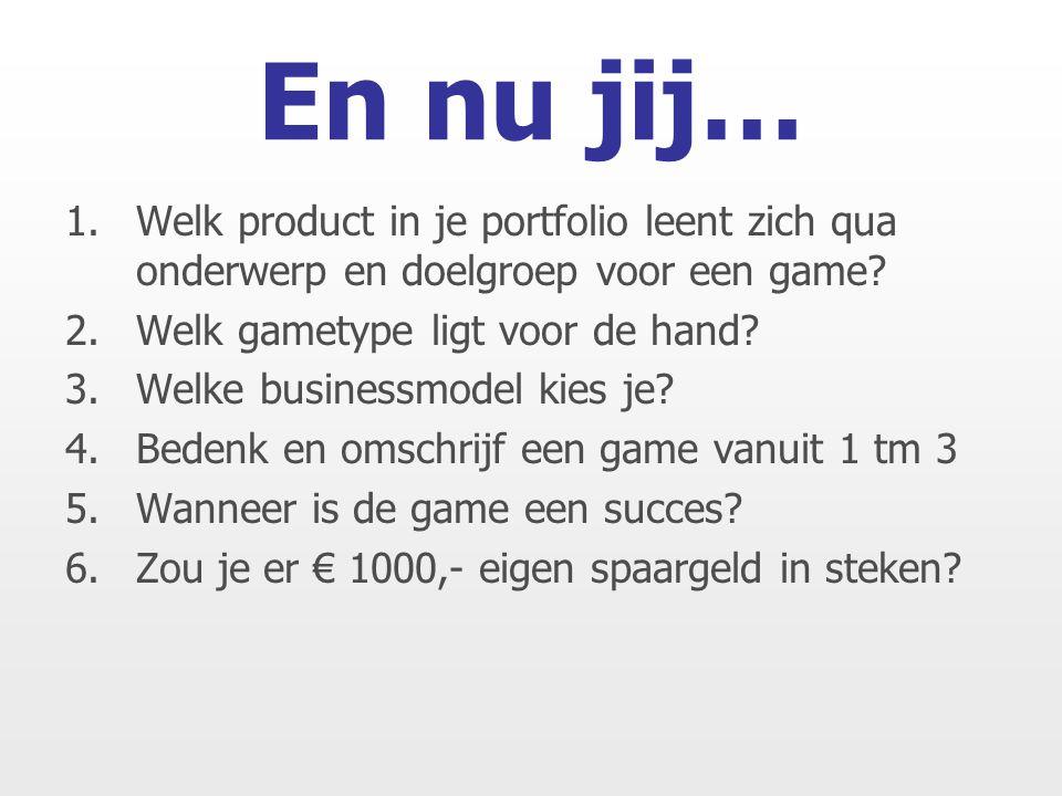 1.Welk product in je portfolio leent zich qua onderwerp en doelgroep voor een game.