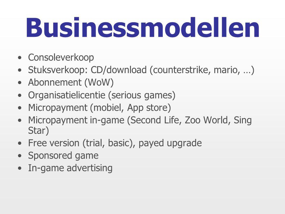 Consoleverkoop Stuksverkoop: CD/download (counterstrike, mario, …) Abonnement (WoW) Organisatielicentie (serious games) Micropayment (mobiel, App stor