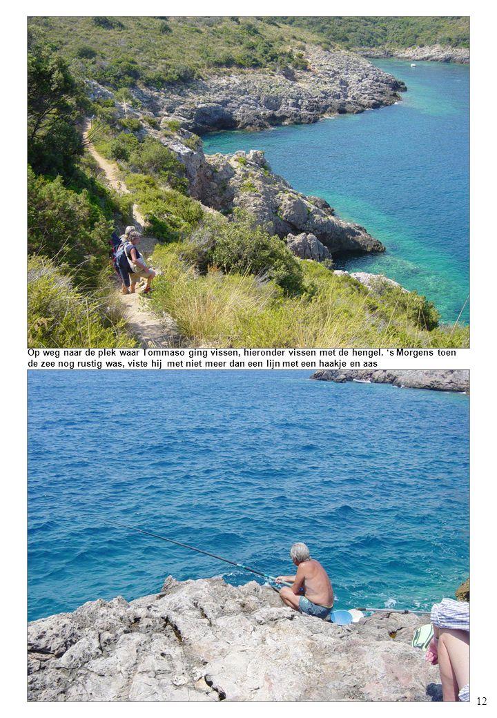 12 Op weg naar de plek waar Tommaso ging vissen, hieronder vissen met de hengel.