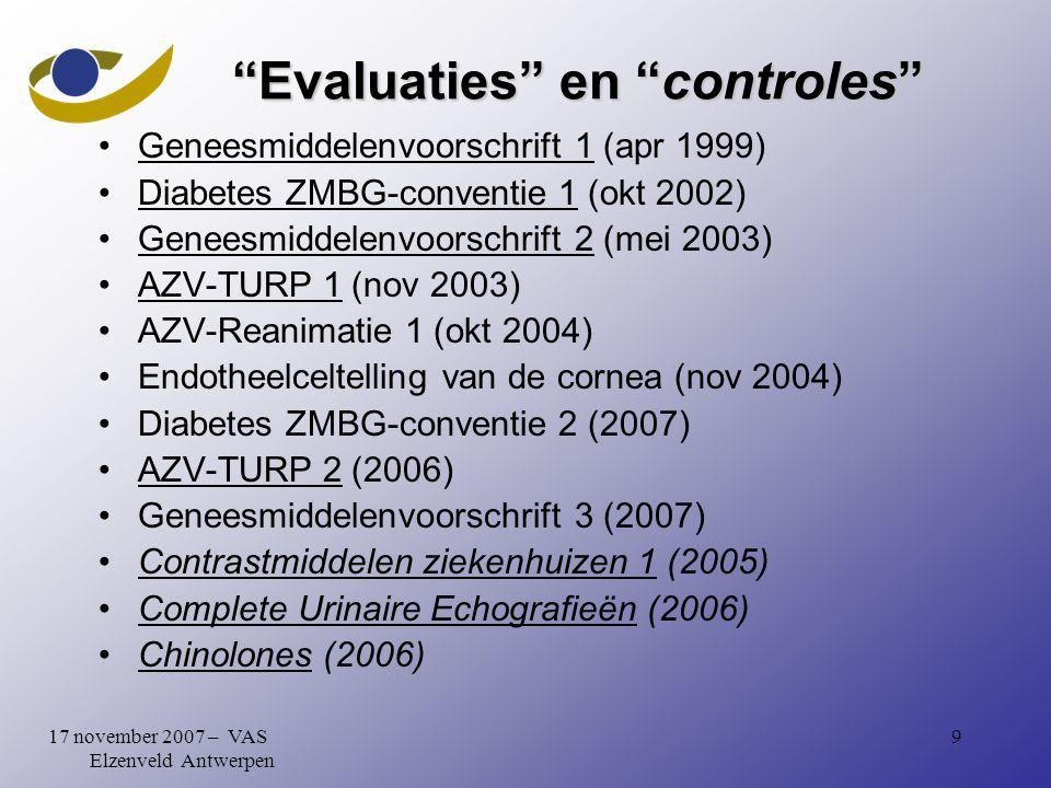 917 november 2007 – VAS Elzenveld Antwerpen Evaluaties en controles Geneesmiddelenvoorschrift 1 (apr 1999) Diabetes ZMBG-conventie 1 (okt 2002) Geneesmiddelenvoorschrift 2 (mei 2003) AZV-TURP 1 (nov 2003) AZV-Reanimatie 1 (okt 2004) Endotheelceltelling van de cornea (nov 2004) Diabetes ZMBG-conventie 2 (2007) AZV-TURP 2 (2006) Geneesmiddelenvoorschrift 3 (2007) Contrastmiddelen ziekenhuizen 1 (2005) Complete Urinaire Echografieën (2006) Chinolones (2006)