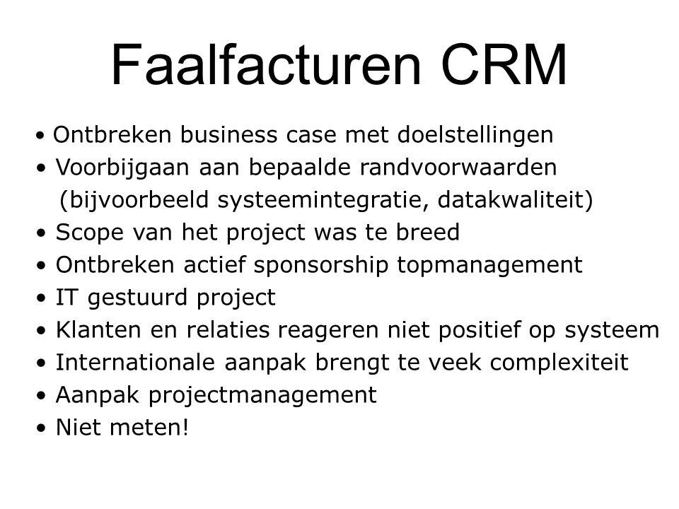 Faalfacturen CRM Ontbreken business case met doelstellingen Voorbijgaan aan bepaalde randvoorwaarden (bijvoorbeeld systeemintegratie, datakwaliteit) S