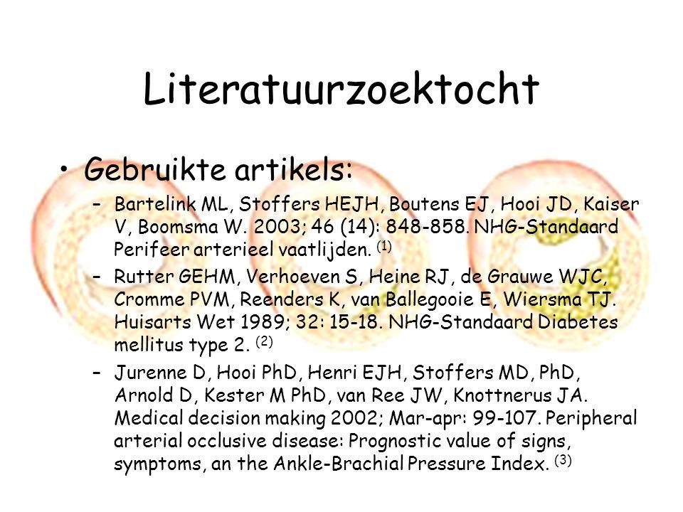 Literatuurzoektocht Gebruikte artikels: –Bartelink ML, Stoffers HEJH, Boutens EJ, Hooi JD, Kaiser V, Boomsma W. 2003; 46 (14): 848-858. NHG-Standaard
