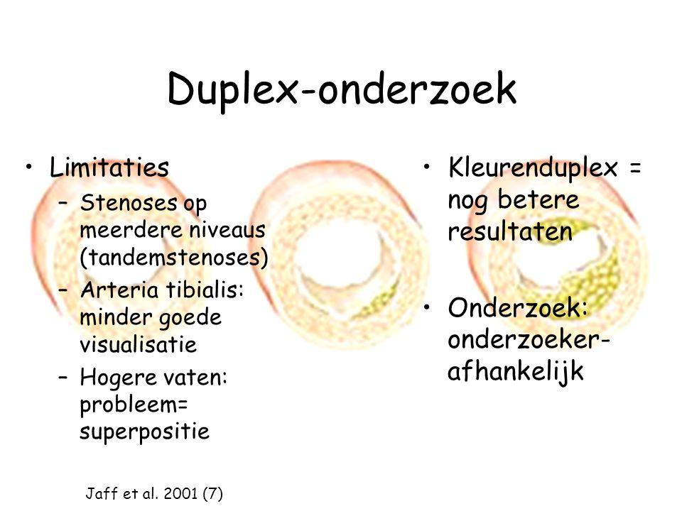 Duplex-onderzoek Limitaties –Stenoses op meerdere niveaus (tandemstenoses) –Arteria tibialis: minder goede visualisatie –Hogere vaten: probleem= super