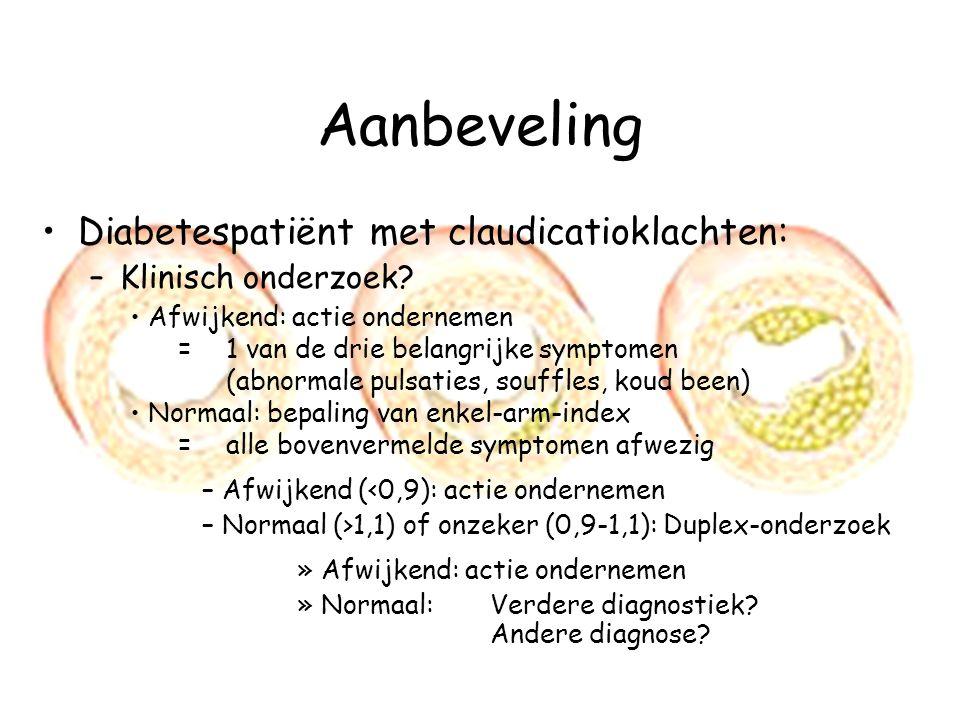 Aanbeveling Diabetespatiënt met claudicatioklachten: –Klinisch onderzoek? Afwijkend: actie ondernemen = 1 van de drie belangrijke symptomen (abnormale