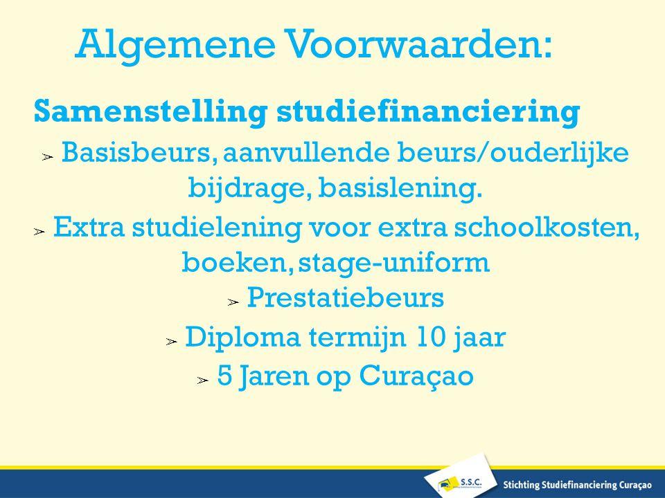 Algemene Voorwaarden: Samenstelling studiefinanciering ➢ Basisbeurs, aanvullende beurs/ouderlijke bijdrage, basislening.
